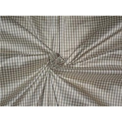 "SILK DUPIONI FABRIC 54"" BROWN X IVORY SMALL PLAIDS"