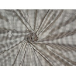 "SILK DUPIONI FABRIC 54""LIGHT KHAKHI X CREAM SMALL PLAIDS CUT LENGTH 2.75"