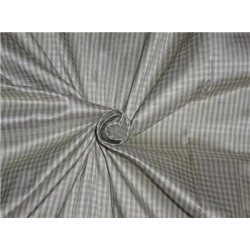 "SILK DUPIONI FABRIC 54"" GREY X CREAM SMALL PLAIDS"
