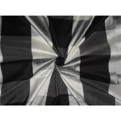 "SILK DUPIONI FABRIC 54"" BLACK,GREY,IVORY AND SILVER PLAIDS"