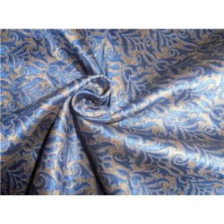 Brocade Fabric Royal Blue x Old Gold 54""