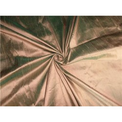 "100% PURE SILK DUPIONI FABRIC GOLD X GREEN COLOR 54"" WITH SLUBS"