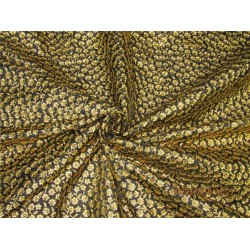 "Silk Brocade fabric Black x metallic gold color with embroidery 44"" BRO575[6]"