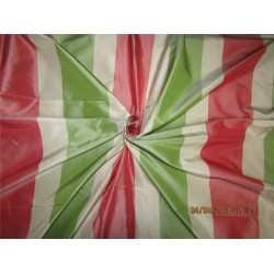 100% Pure Silk Taffeta Fabric red,Green & Cream stripe TAFS139[4]