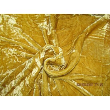 "100% crushed Velvet fabric 58"" mustard gold"