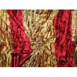 "100% crushed Velvet fabric 58"" gold x red color"