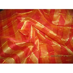"silk organza checks red x orange color 44""width"