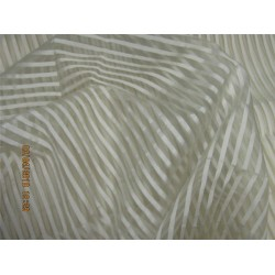 "silk organza stripe natural ivory color 44""wide"
