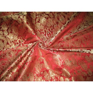 Heavy Silk Brocade Fabric Metalic Gold,Red colours*