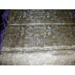 Pure Heavy Silk Brocade Fabric ~rich ivory & Gold*