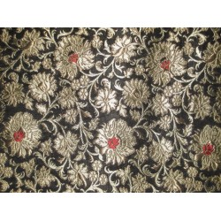 "Pure Heavy Silk Brocade Fabric Black,Red & Gold 36"" WIDE"