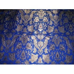 vintage mughal brocade jacquard fabric-royal blue