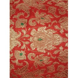 vintage mughal brocade jacquard fabric-deep red