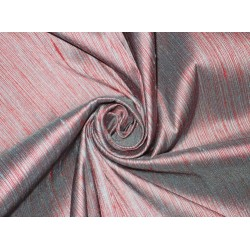 "SILK Dupioni FABRIC  2 ply silk 54""-grey/ red DUP#S41[1]"