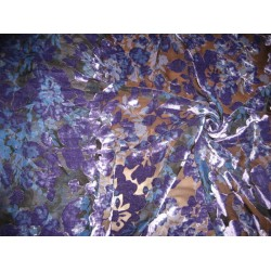 devore Polyester viscose burnout Aubergine Velvet fabric 44""
