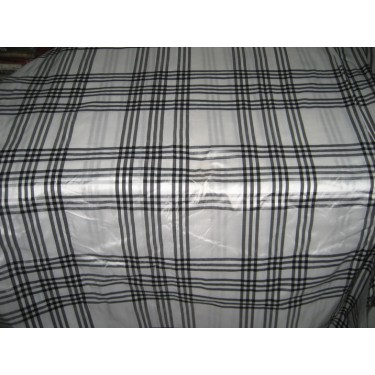 SILK Dupioni FABRIC superb white / black plaids* DUPC55