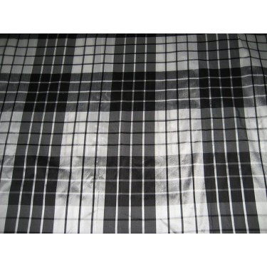 SILK Dupioni FABRIC drapery white / black plaids DUPC56