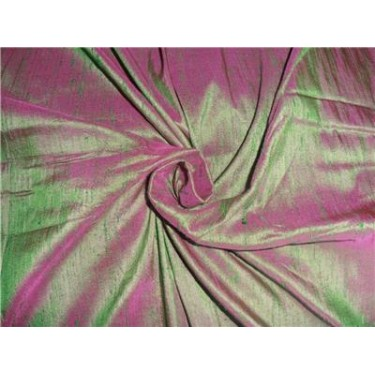 "100% PURE SILK DUPIONI FABRIC PINK X GREEN 54"" WITH SLUBS"