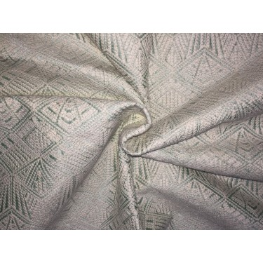 """DUPIONI  FABRIC 44"""" synthetic pastel green  with ivory embroidery by the yard"""