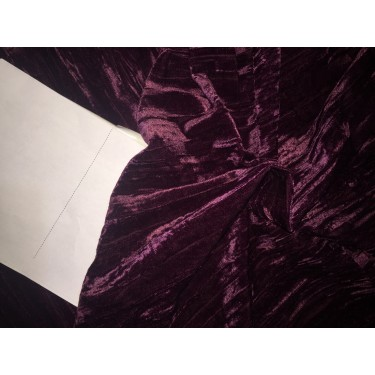 "100% crushed Velvet fabric 44"" aubergine"