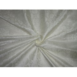 "Silk Brocade fabric ivory white 44""BRO716[3 by the yard]"