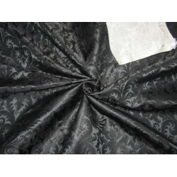 "Silk Brocade 36"" king khab [kings dream]  jet black BRO720[1] by the yard"