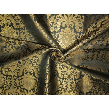 Brocade fabric black x metallic gold 44'' wide BRO700[4]