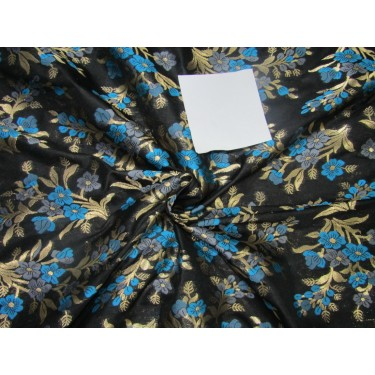 "Brocade jacquard fabric 44"" blue/grey floral with metalic gold  BRO688[3]"