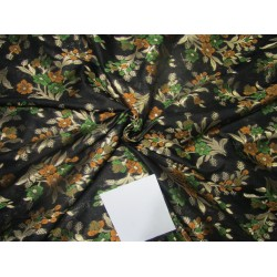 "Brocade jacquard fabric 44"" mustard/green  floral with metalic gold  BRO688[4]"