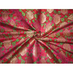 "BROCADE jacquard FABRIC pink ,green x metalic gold COLOR 44"" wide BRO690[3]"