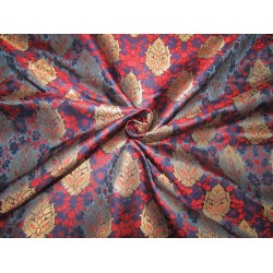 """BROCADE jacquard FABRIC navy ,red  x metalic gold COLOR 44"""" wide BRO690[2]"""