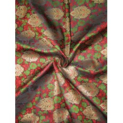 "BROCADE jacquard FABRIC  red green  x metalic gold COLOR 44"" wide BRO690[1]"
