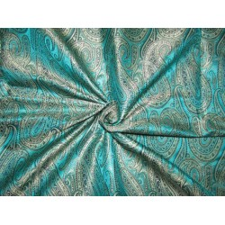 Silk Brocade jacquard  Fabric black sea green silver and navy BRO695[3]