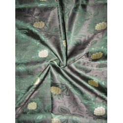 Silk Brocade jacquard Fabric black metallic gold &dark green BRO695[4]