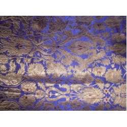 Silk Brocade Fabric Purple & Metallic Antique Gold 44""