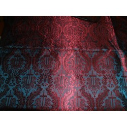 Vestment Brocade fabric deep wine x charcoal grey