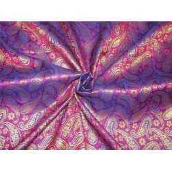"Brocade fabric Purple x metallic Gold Color 44""BRO596[3]"