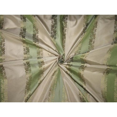 Mint green x ivory horizontal stripes ~with jacquard floral design~SILK TAFFETA