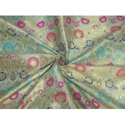 "Brocade fabric mint ,multi color x metallic Gold 44""BRO597[5]"
