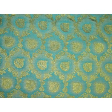 "Brocade fabric Sea blue x metallic Gold 44""BRO598[1]"