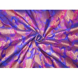 "Brocade fabric Royal blue/majenta pink x metallic Gold 44""BRO599[2]"