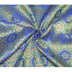 "Brocade fabric blue x metallic Gold 48"" BRO600[1]"