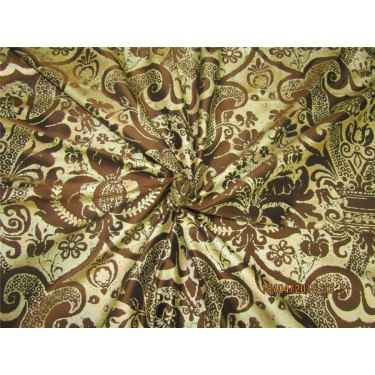 "100% Dupion fabric gold x brown color silk print 54"" dupPR39[2]"