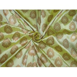 "Brocade fabric lime green X metallic gold color 44"" BRO601[2]"