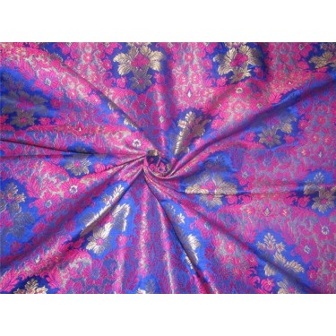 Heavy Brocade fabric royal blue ,pink x metallic gold color BRO595[3]