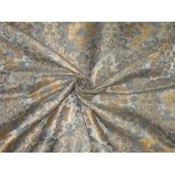 Heavy Brocade fabric greyish blue x metallic gold color BRO595[4]