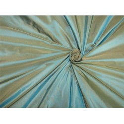100% Pure Silk Taffeta Fabric iridescent blue x beige color gown TAF#285