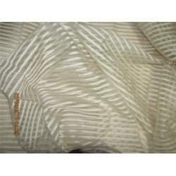 "silk organza stripe natural ivory color 44""width/3"