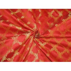 "Brocade fabric red x metallic Gold Color BRO596[1] 44"" wide sold by the yard"