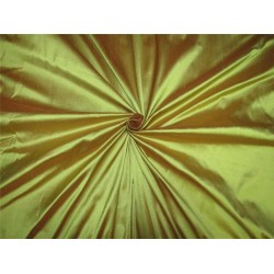 "100% Silk Dupion fabric iridescent lime green x orange color 54""wide DUP#258[1]"